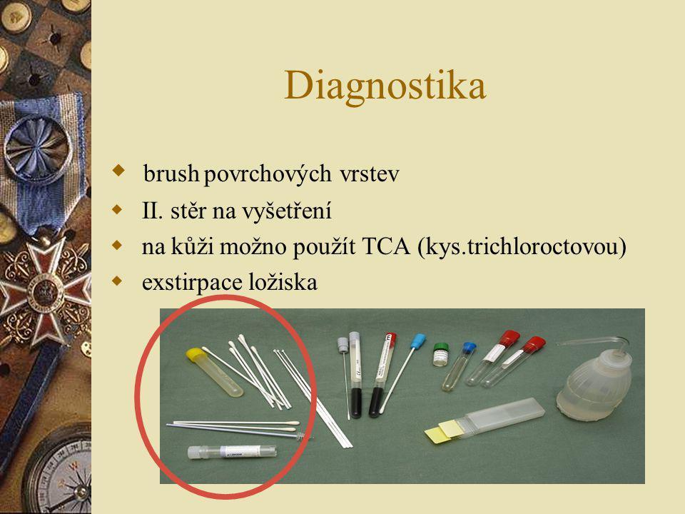 Diagnostika brush povrchových vrstev II. stěr na vyšetření