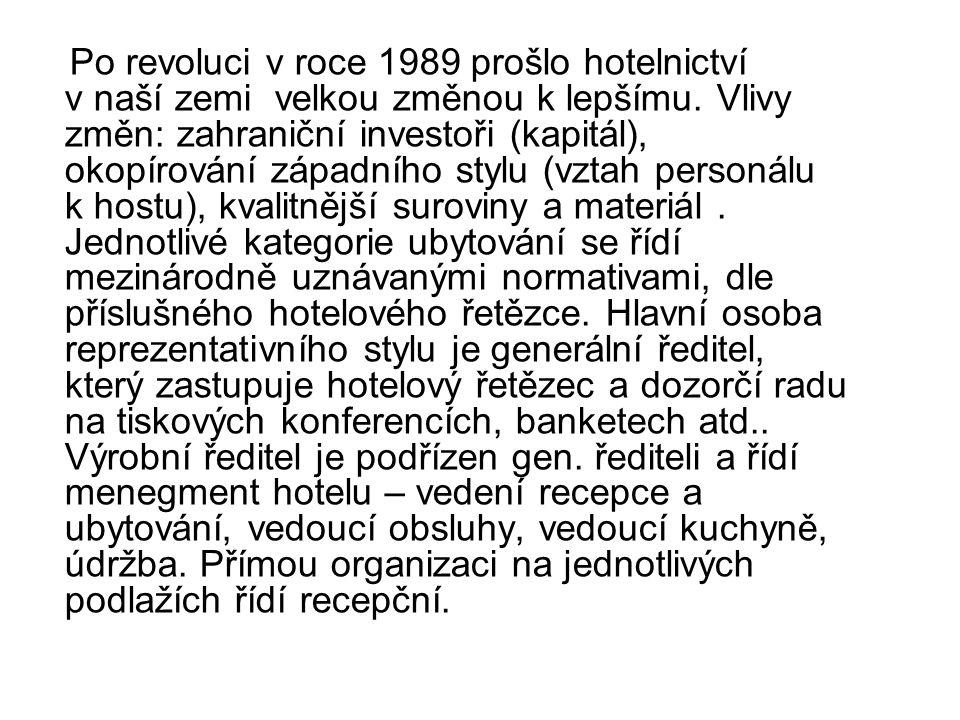 Po revoluci v roce 1989 prošlo hotelnictví v naší zemi velkou změnou k lepšímu.