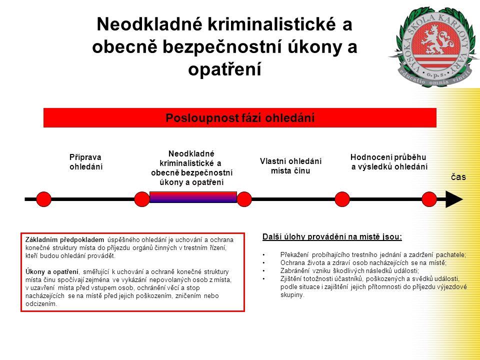 Neodkladné kriminalistické a obecně bezpečnostní úkony a opatření