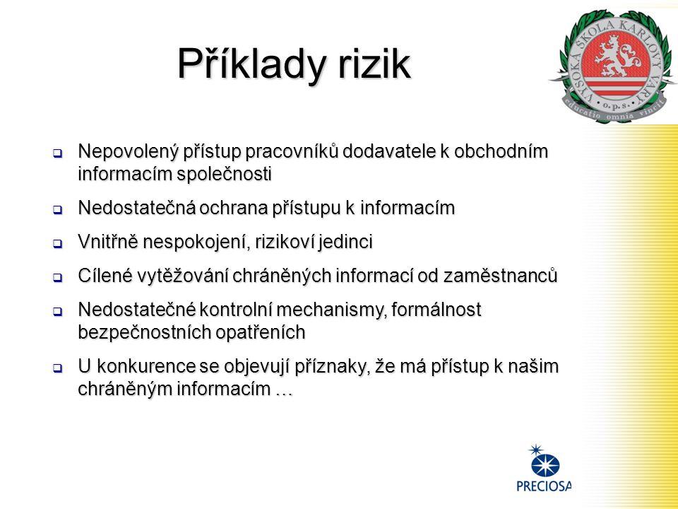 Příklady rizik Nepovolený přístup pracovníků dodavatele k obchodním informacím společnosti. Nedostatečná ochrana přístupu k informacím.