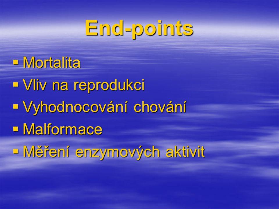 End-points Mortalita Vliv na reprodukci Vyhodnocování chování