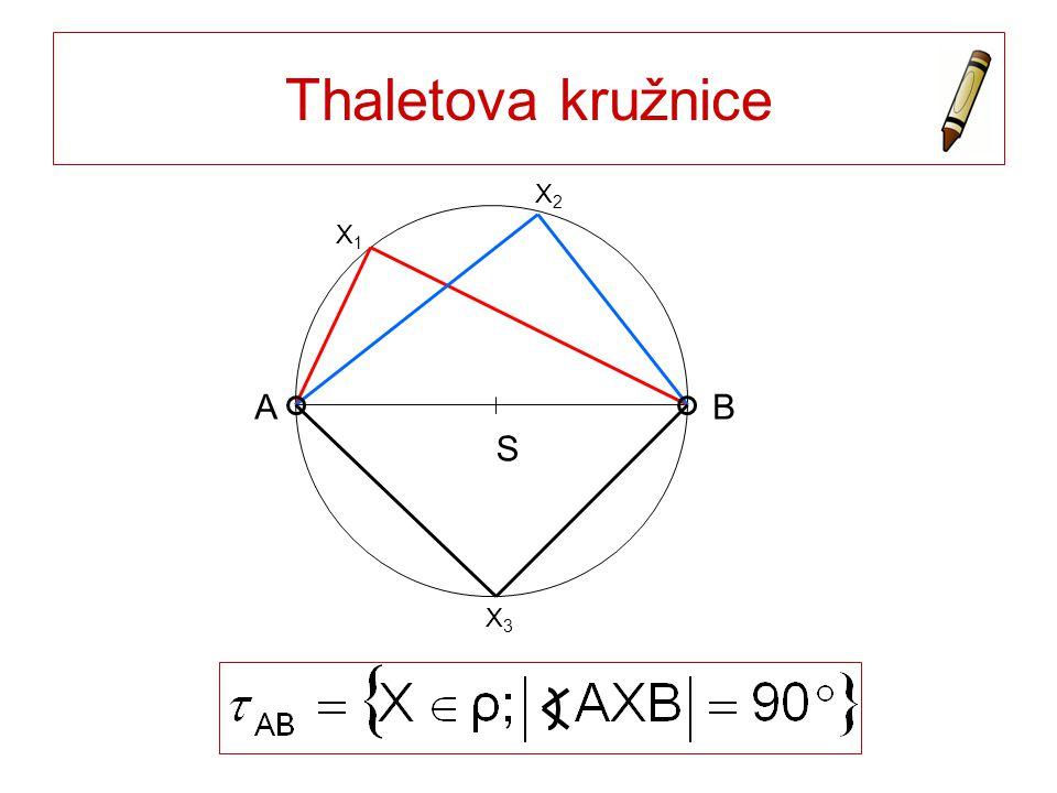 Thaletova kružnice S A B X1 X2 X3