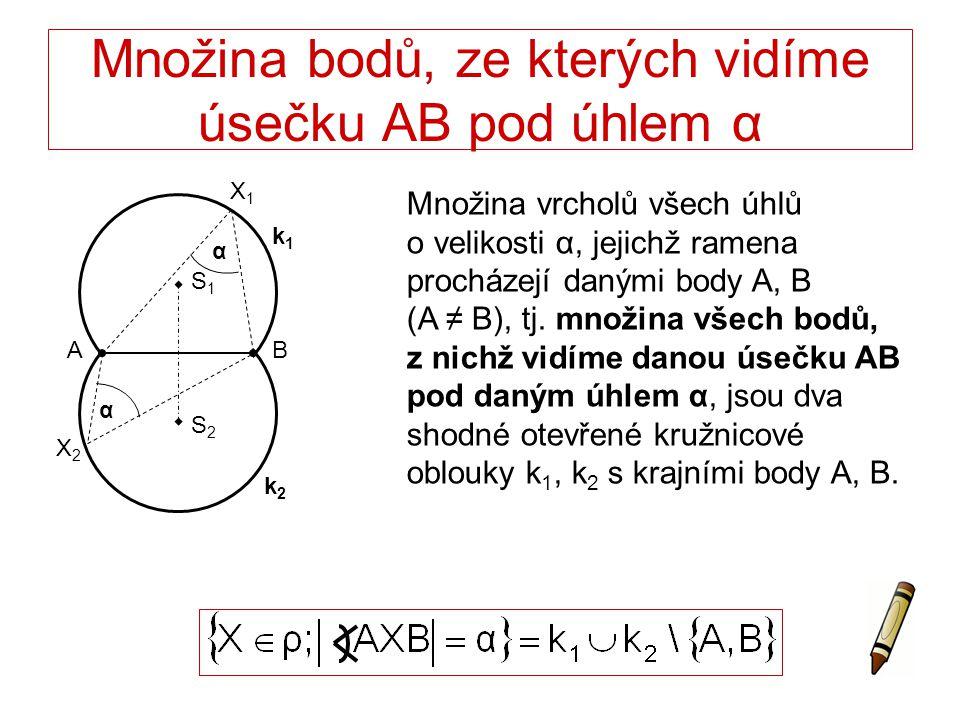 Množina bodů, ze kterých vidíme úsečku AB pod úhlem α