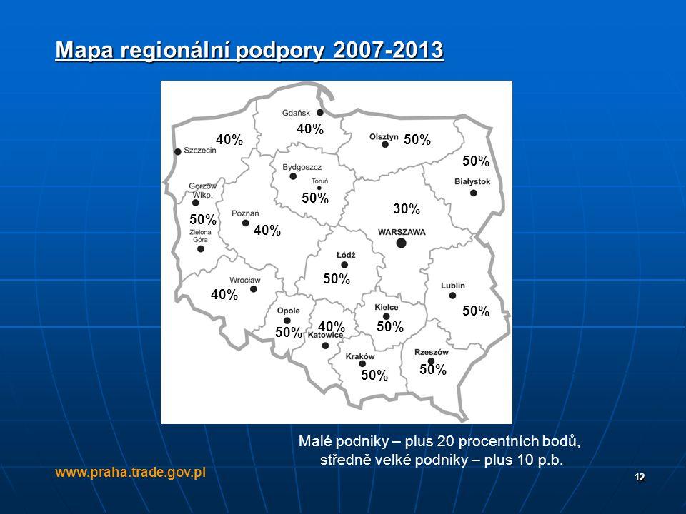 Mapa regionální podpory 2007-2013