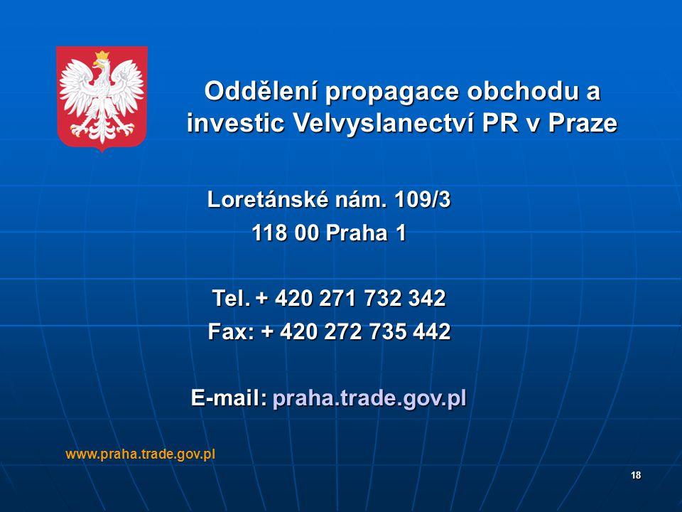 Oddělení propagace obchodu a investic Velvyslanectví PR v Praze