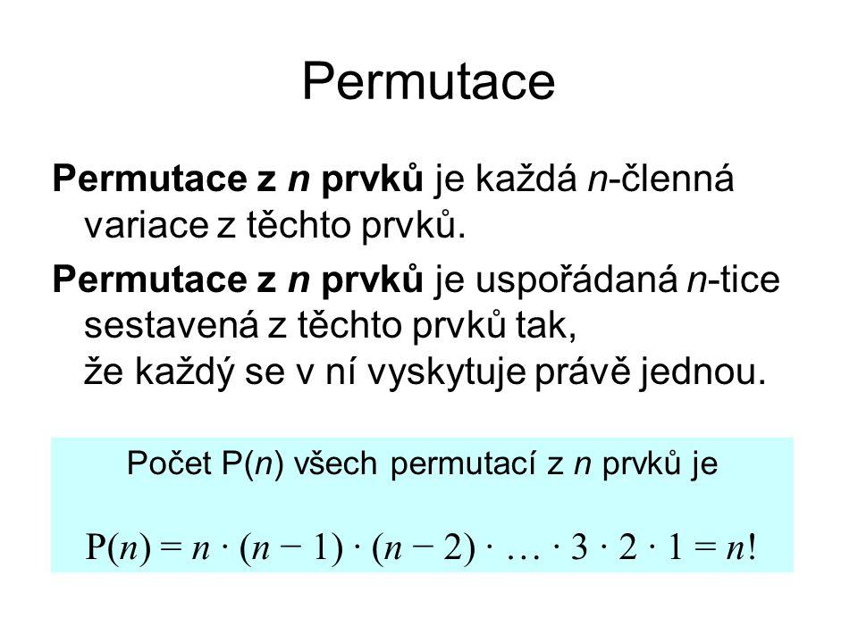 Permutace Permutace z n prvků je každá n-členná variace z těchto prvků.