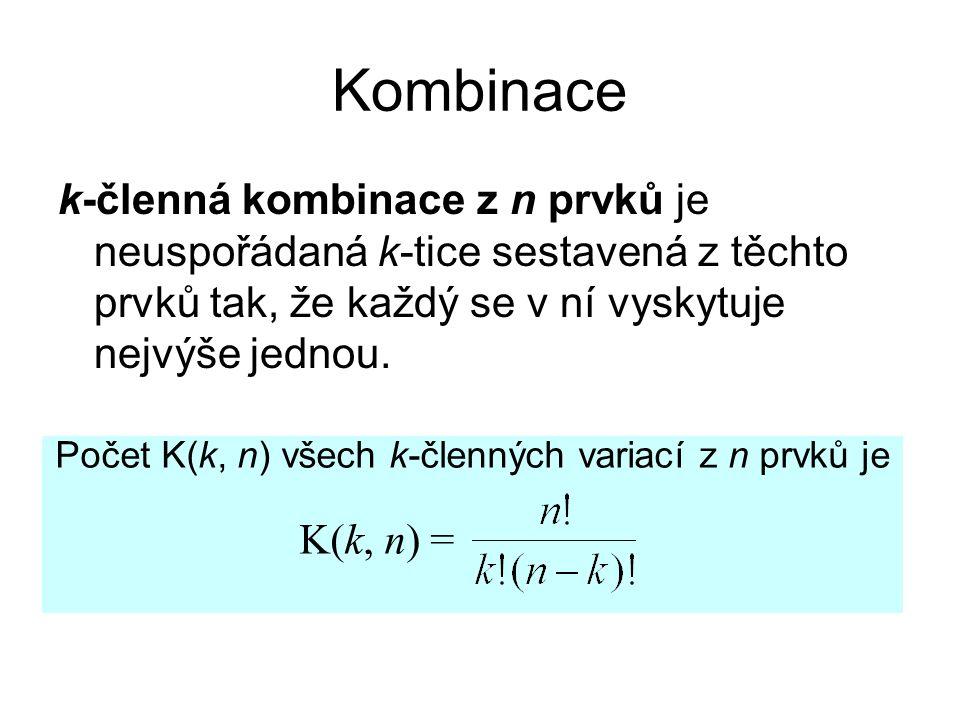Počet K(k, n) všech k-členných variací z n prvků je