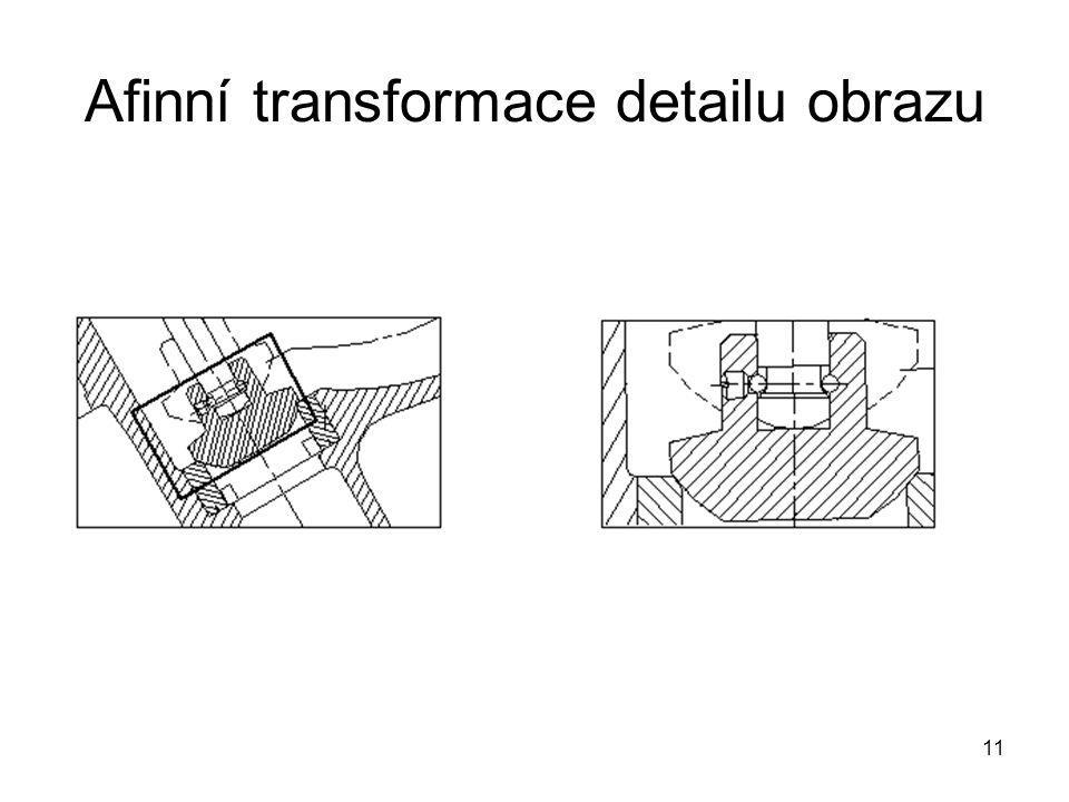 Afinní transformace detailu obrazu