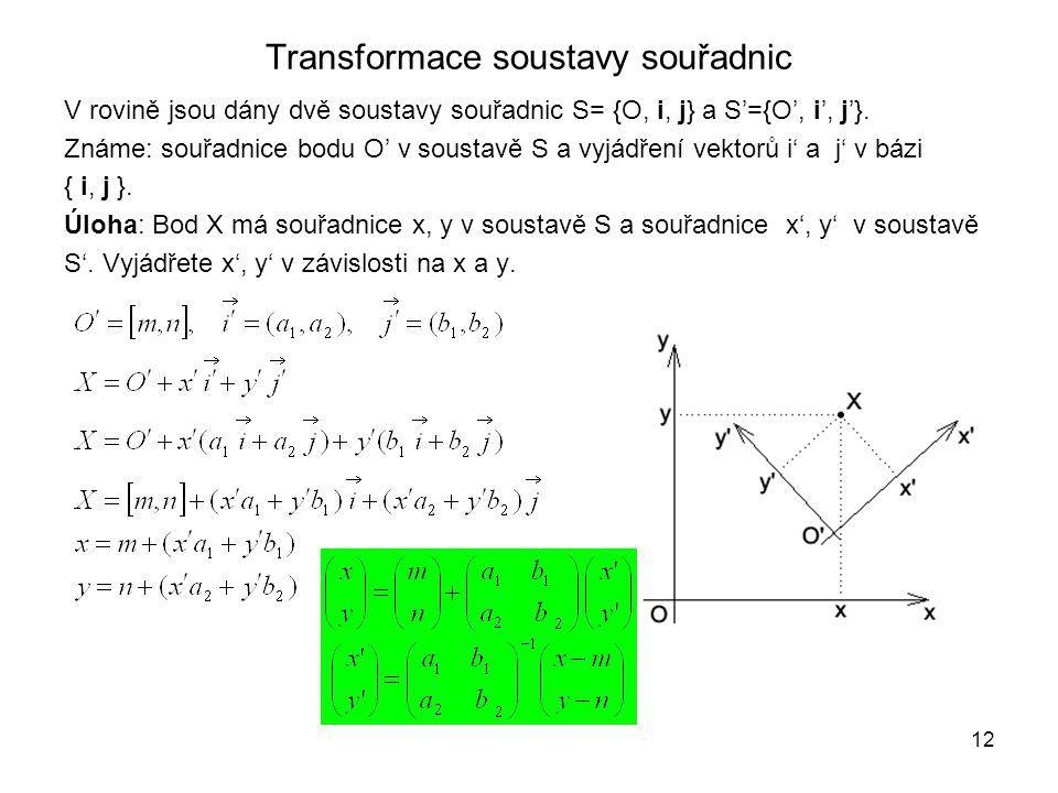 Transformace soustavy souřadnic