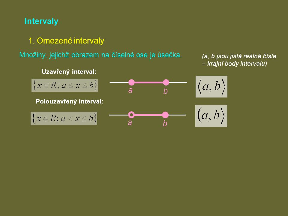 Intervaly 1. Omezené intervaly a b a b