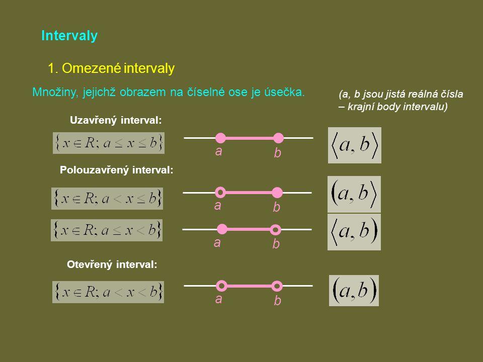 Intervaly 1. Omezené intervaly a b a b a b a b