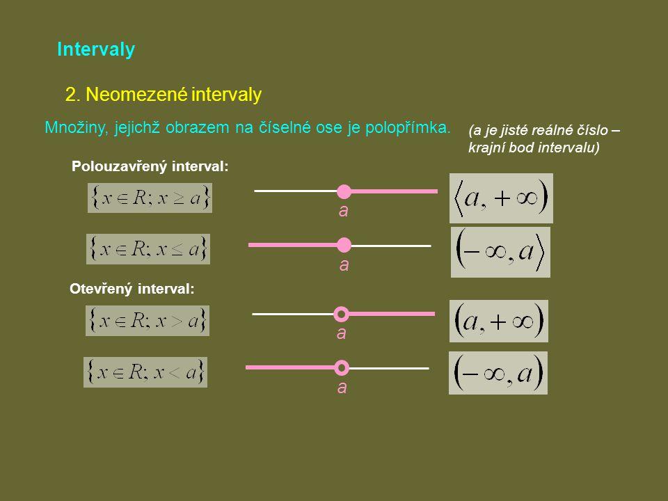 Intervaly 2. Neomezené intervaly a a a a