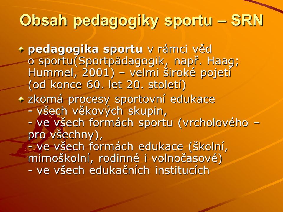 Obsah pedagogiky sportu – SRN