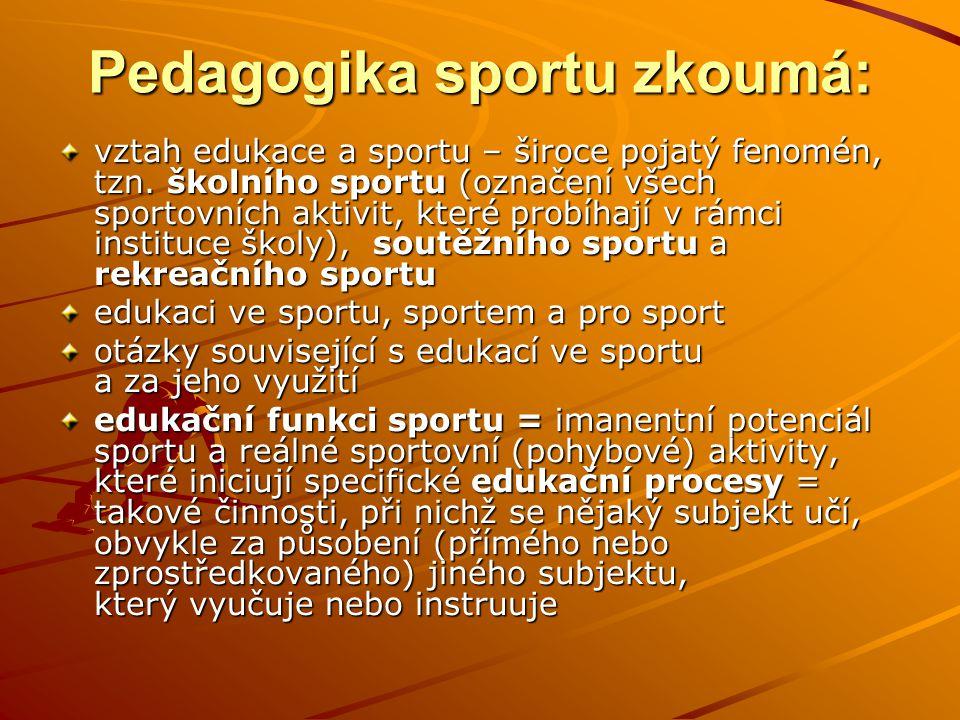 Pedagogika sportu zkoumá: