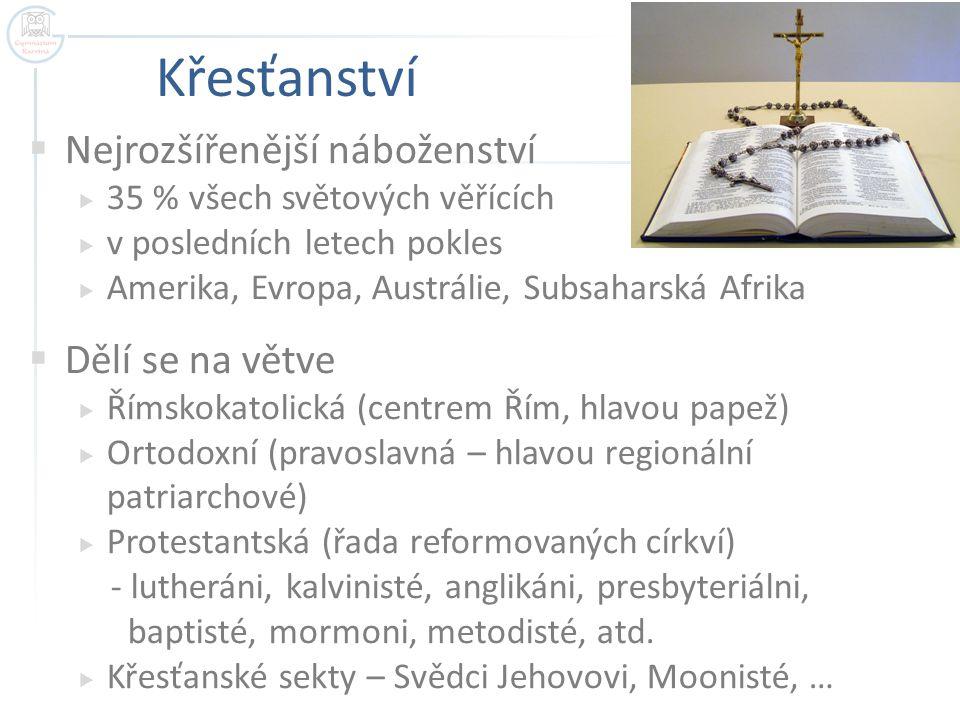 Křesťanství Nejrozšířenější náboženství Dělí se na větve