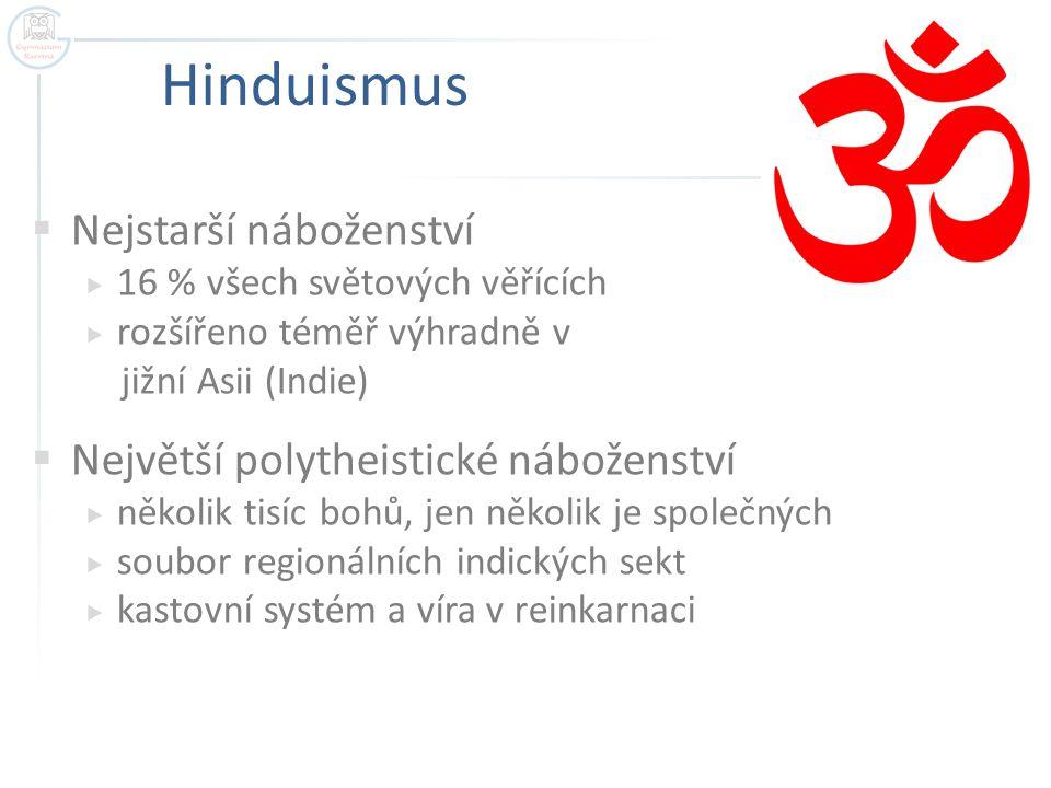Hinduismus Nejstarší náboženství Největší polytheistické náboženství