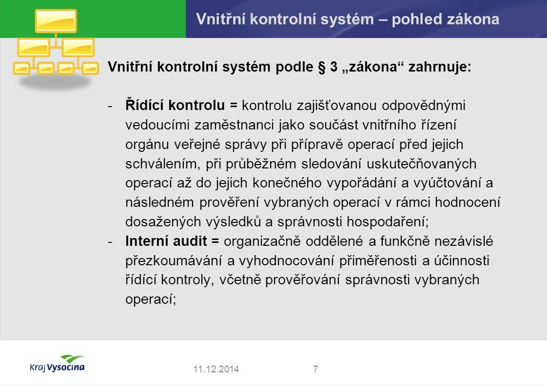 Vnitřní kontrolní systém – pohled zákona