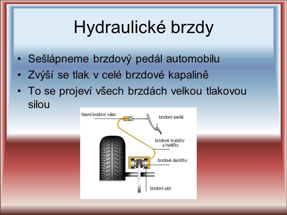 Hydraulické brzdy Sešlápneme brzdový pedál automobilu