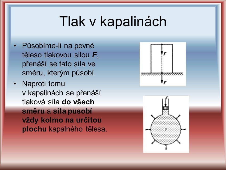 Tlak v kapalinách Působíme-li na pevné těleso tlakovou silou F, přenáší se tato síla ve směru, kterým působí.