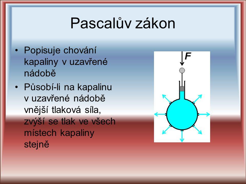 Pascalův zákon Popisuje chování kapaliny v uzavřené nádobě