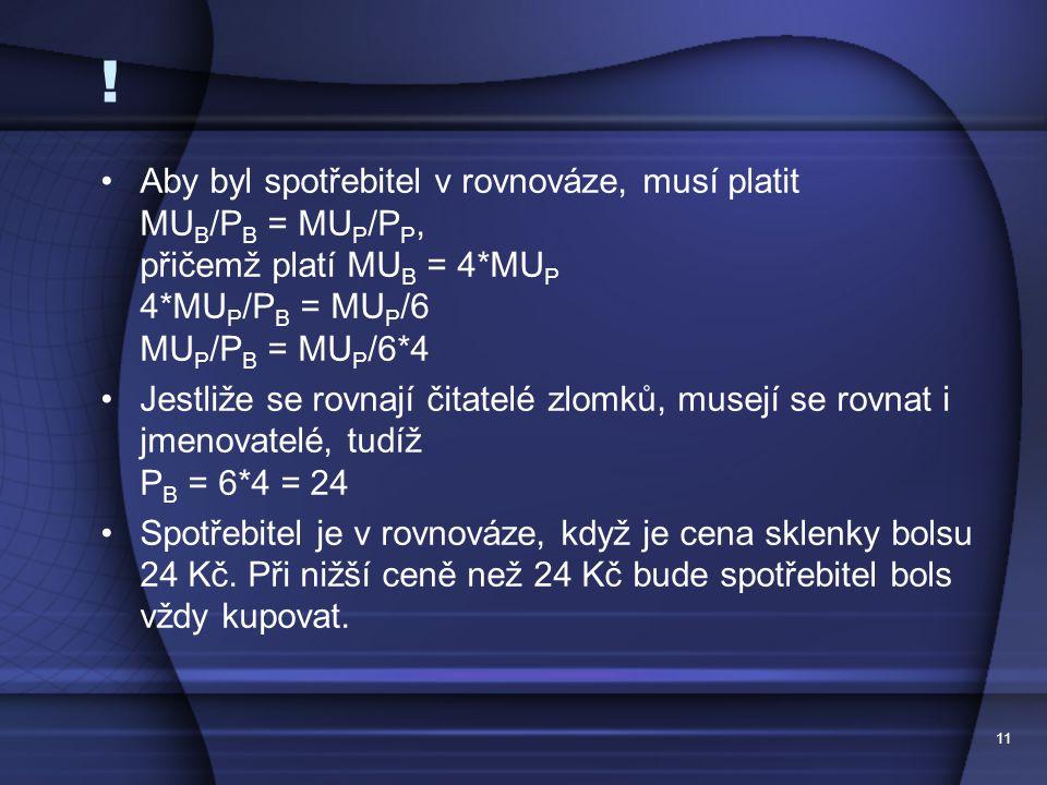 ! Aby byl spotřebitel v rovnováze, musí platit MUB/PB = MUP/PP, přičemž platí MUB = 4*MUP 4*MUP/PB = MUP/6 MUP/PB = MUP/6*4.