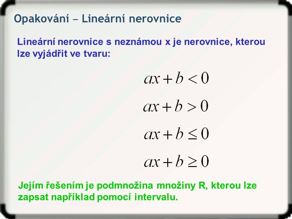 Opakování ‒ Lineární nerovnice