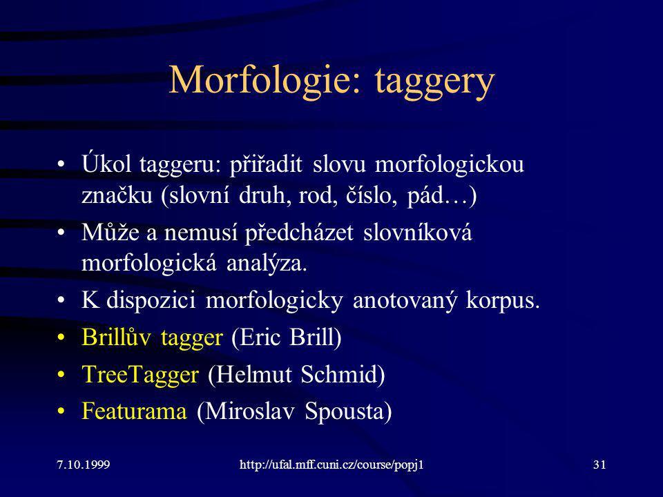 Morfologie: taggery Úkol taggeru: přiřadit slovu morfologickou značku (slovní druh, rod, číslo, pád…)