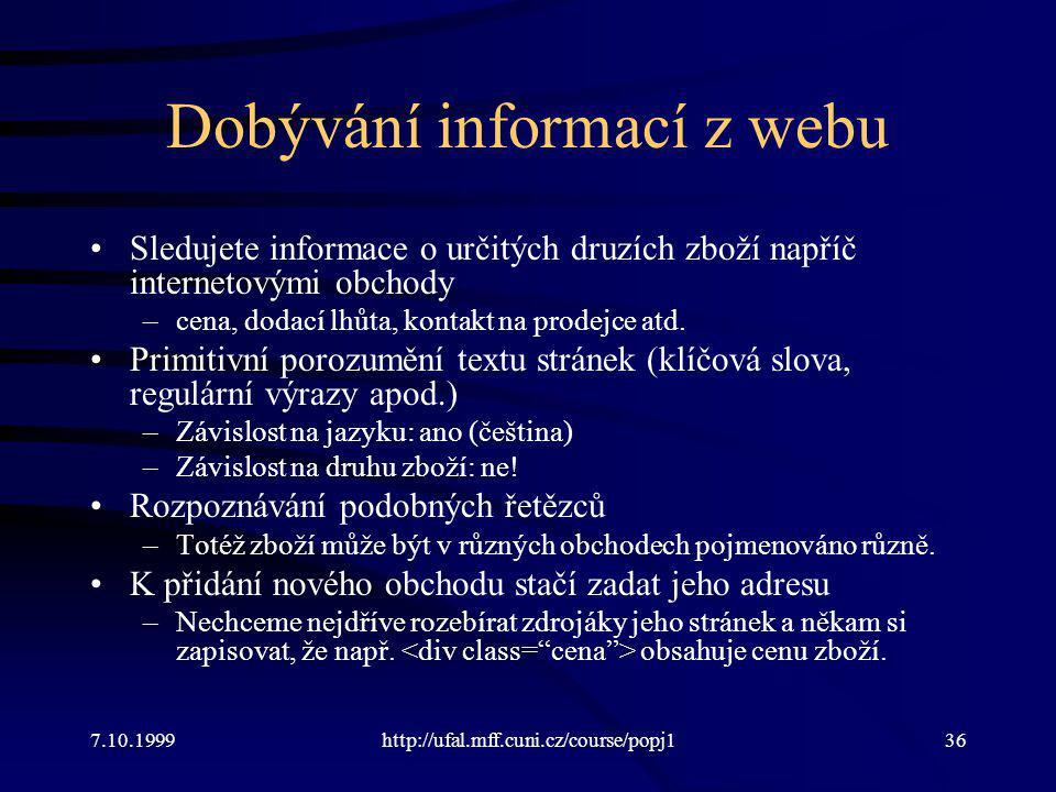 Dobývání informací z webu