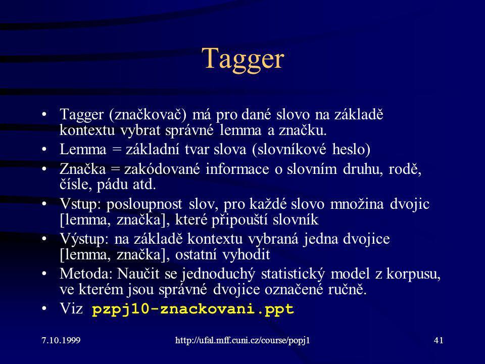 Tagger Tagger (značkovač) má pro dané slovo na základě kontextu vybrat správné lemma a značku. Lemma = základní tvar slova (slovníkové heslo)