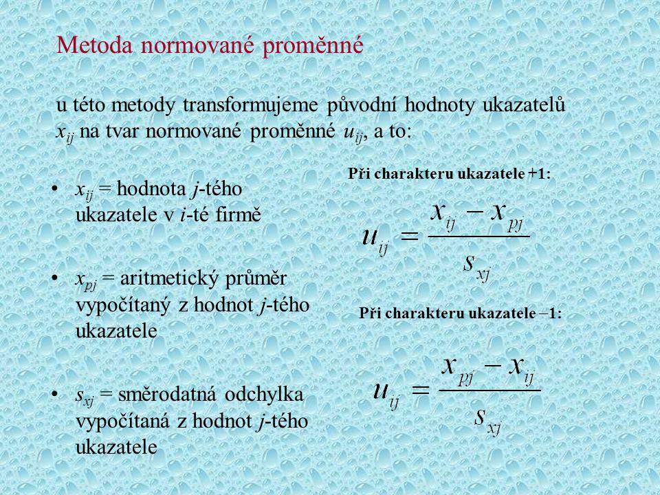Metoda normované proměnné u této metody transformujeme původní hodnoty ukazatelů xij na tvar normované proměnné uij, a to: