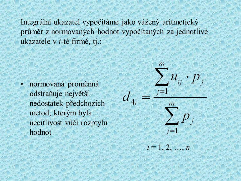 Integrální ukazatel vypočítáme jako vážený aritmetický průměr z normovaných hodnot vypočítaných za jednotlivé ukazatele v i-té firmě, tj.:
