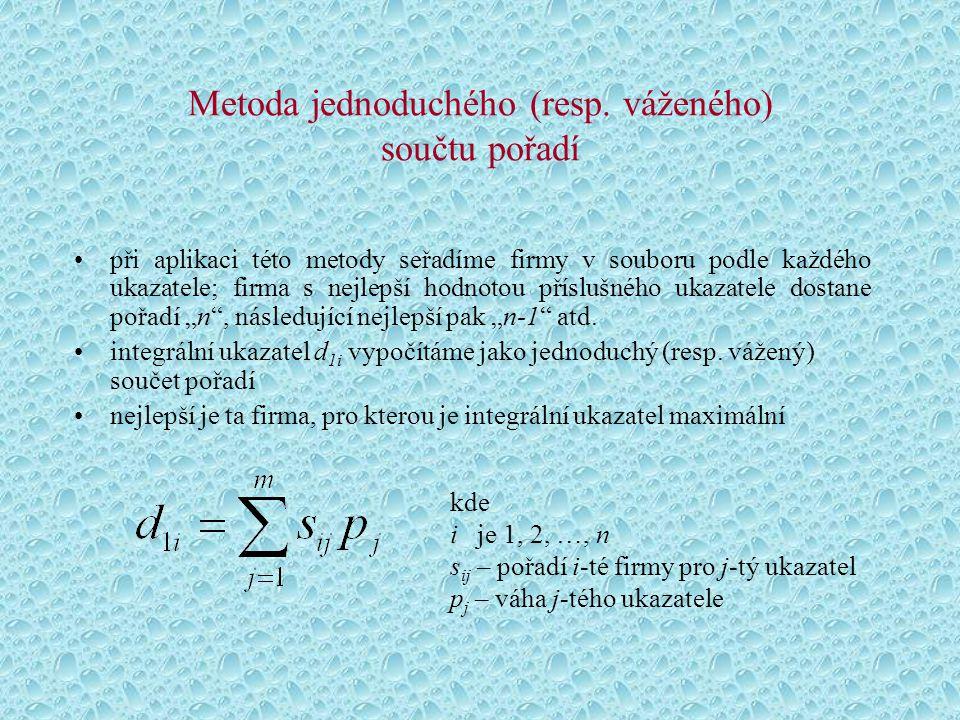 Metoda jednoduchého (resp. váženého) součtu pořadí