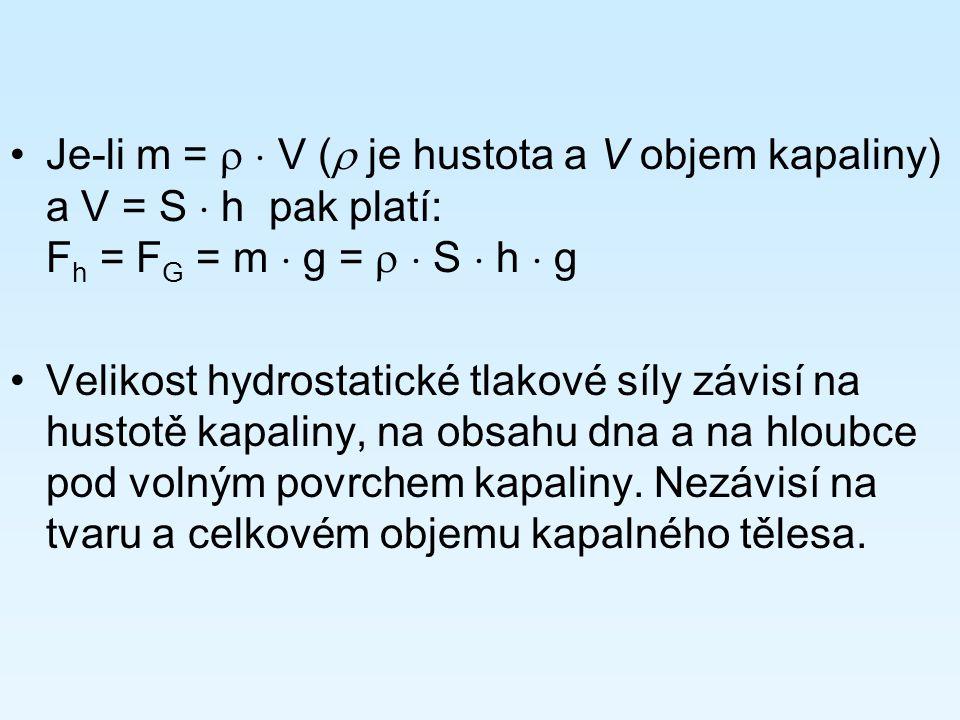 Je-li m =   V ( je hustota a V objem kapaliny) a V = S  h pak platí: Fh = FG = m  g =   S  h  g