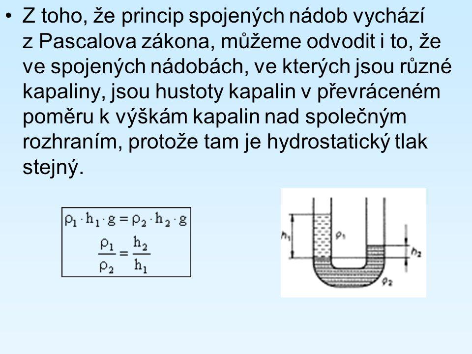 Z toho, že princip spojených nádob vychází z Pascalova zákona, můžeme odvodit i to, že ve spojených nádobách, ve kterých jsou různé kapaliny, jsou hustoty kapalin v převráceném poměru k výškám kapalin nad společným rozhraním, protože tam je hydrostatický tlak stejný.