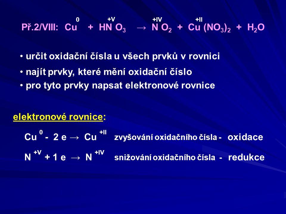 Př.2/VIII: Cu + HN O3 → N O2 + Cu (NO3)2 + H2O