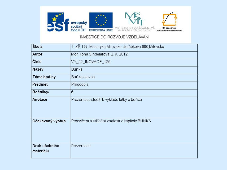 Škola 1. ZŠ T.G. Masaryka Milevsko, Jeřábkova 690,Milevsko. Autor. Mgr. Ilona Šindelářová, 2. 9. 2012.