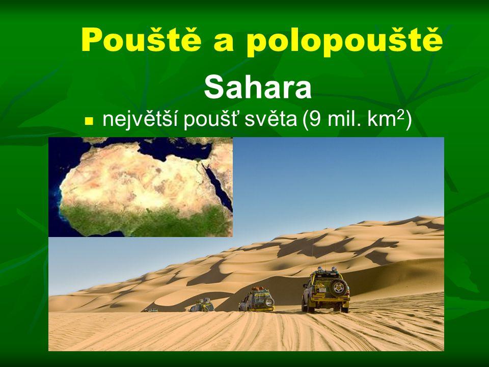 Pouště a polopouště Sahara největší poušť světa (9 mil. km2)