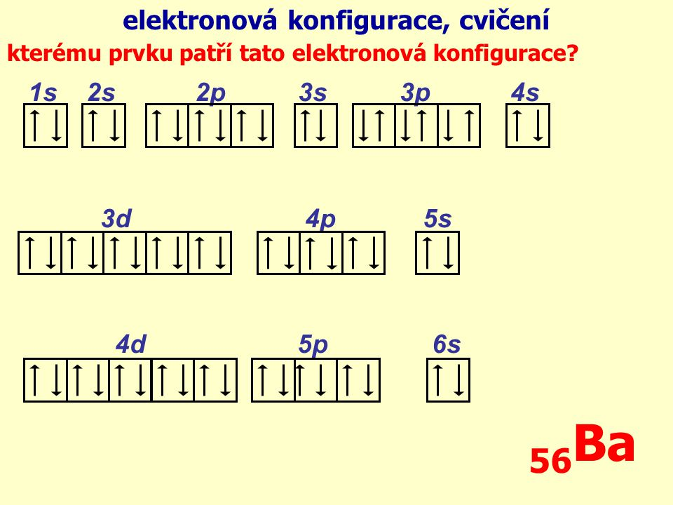 56Ba elektronová konfigurace, cvičení 1s 2s 2p 3s 3p 4s 3d 4p 5s