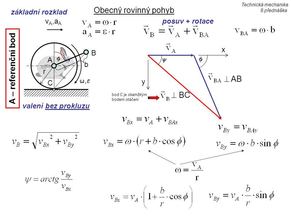 Obecný rovinný pohyb A – referenční bod  AB  BC základní rozklad