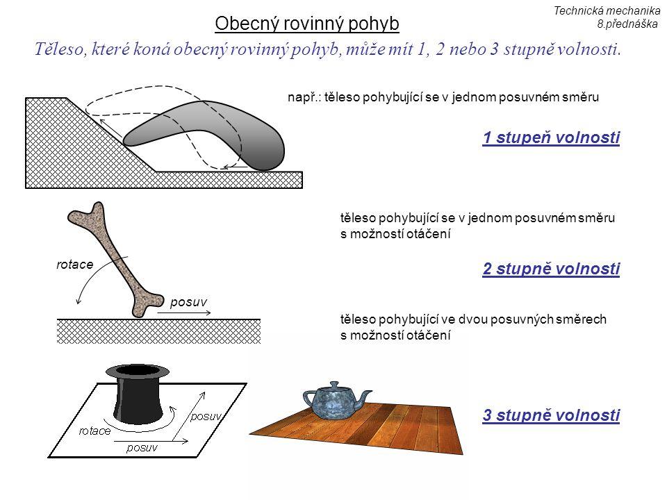 Technická mechanika 8.přednáška. Obecný rovinný pohyb. Těleso, které koná obecný rovinný pohyb, může mít 1, 2 nebo 3 stupně volnosti.
