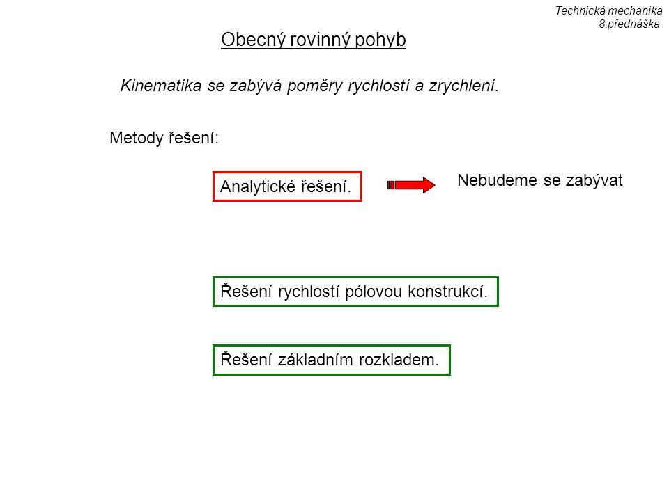 Technická mechanika 8.přednáška. Obecný rovinný pohyb. Kinematika se zabývá poměry rychlostí a zrychlení.