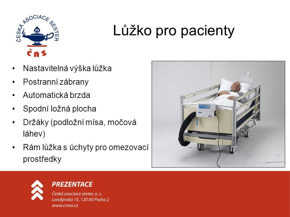 Lůžko pro pacienty Nastavitelná výška lůžka Postranní zábrany