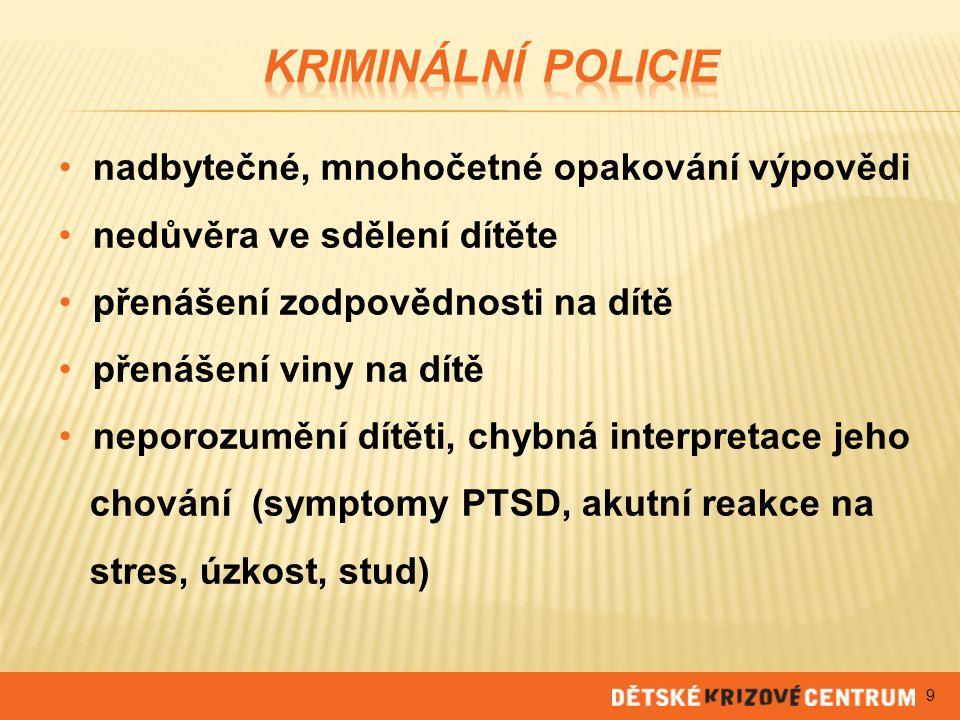 Kriminální policie nadbytečné, mnohočetné opakování výpovědi