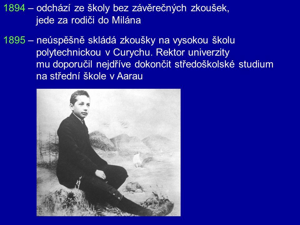1894 – odchází ze školy bez závěrečných zkoušek,