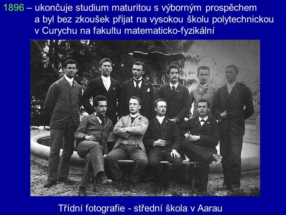 1896 – ukončuje studium maturitou s výborným prospěchem