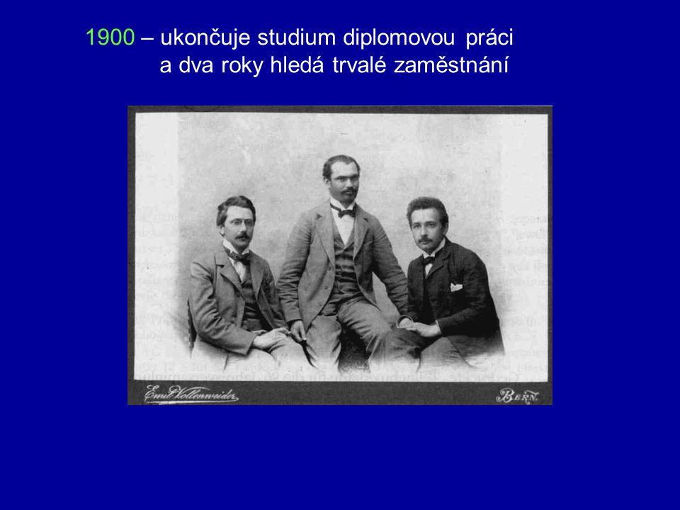 1900 – ukončuje studium diplomovou práci