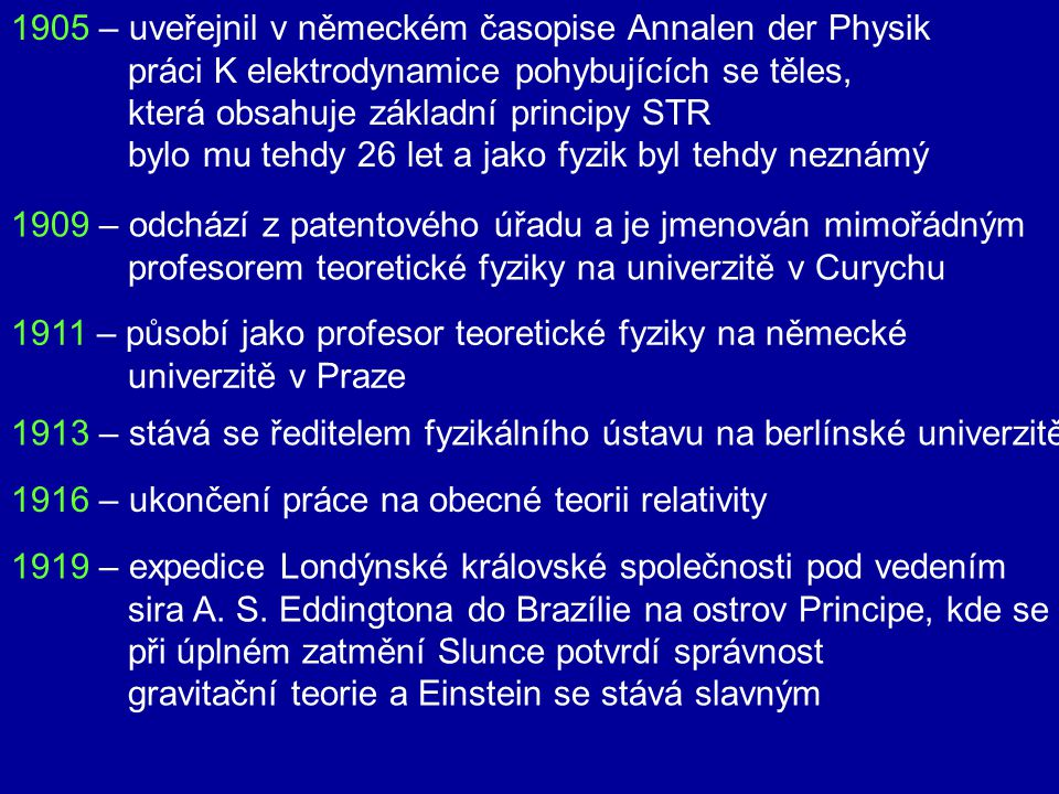 1905 – uveřejnil v německém časopise Annalen der Physik