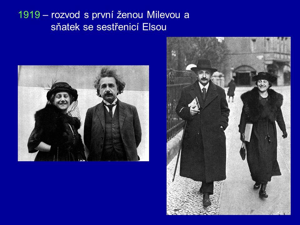 1919 – rozvod s první ženou Milevou a