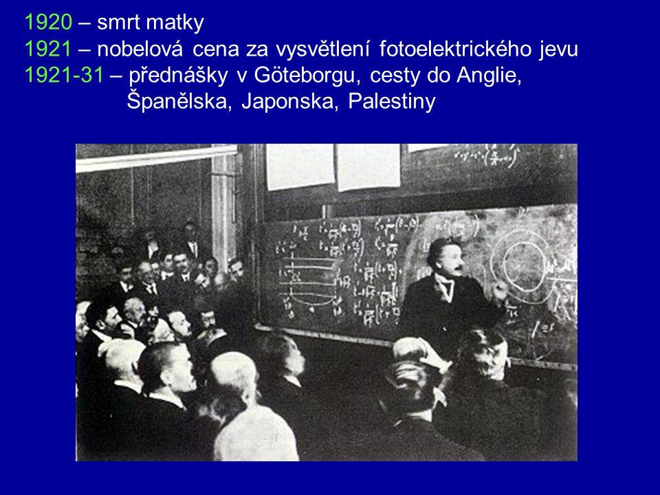 1920 – smrt matky 1921 – nobelová cena za vysvětlení fotoelektrického jevu. 1921-31 – přednášky v Göteborgu, cesty do Anglie,