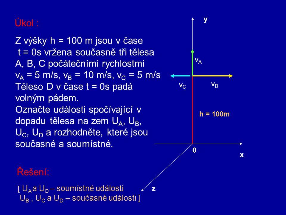 t = 0s vržena současně tři tělesa A, B, C počátečními rychlostmi